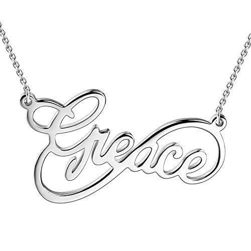 Soufeel Namenskette Unendlichkeits Persönalisierte Namen Halskette 925 Sterling Silber (Keine Interpunktion und Symbole)