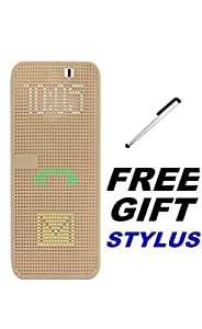 HTCDesire820 Premium Quality Dot View Case Flip cover For HTCDesire820 (Golden) With Free Stylus By Vinnx