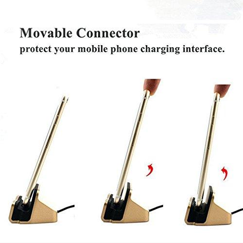 First2savvv argento Magnetico Connessione Dock con Cavo Lightning Caricatore Stazione di Ricarica compatibile con iPhone 6s/iPhone 6/iPhone 5s/iPhone 5c/iPhone 6s Plus,iPhone 7 & iPhone 7 Plus ecc-16G oro + pezza per pulire