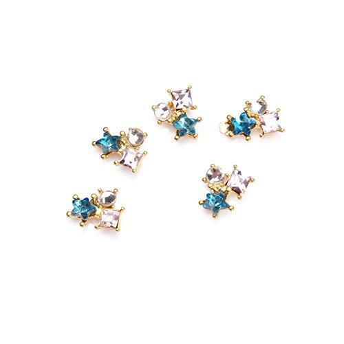 5Pcs Kit Décoration Nail Art Etoile Métal 3D Manucure Incrusté Cristal Bijoux DIY Ongle Bleu RAIN QUEEN