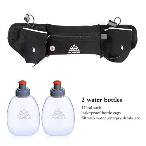 Geila Sport Hydratation Laufen Gürtel Wasserdichte Waist Bag mit 2 BPA-freien Wasserflaschen für Laufen Wandern Radfahren Klettern Grün
