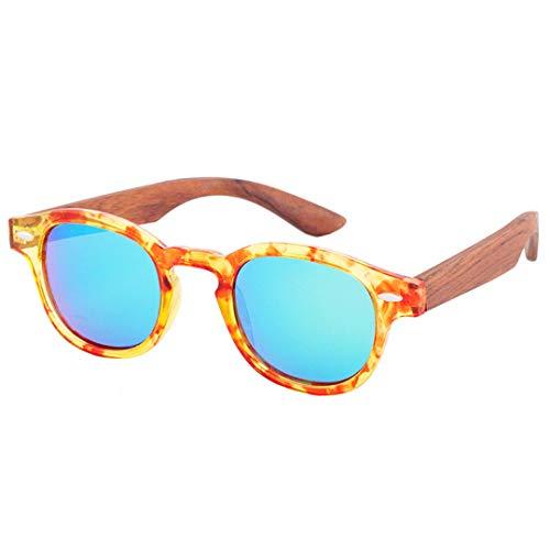 DAIYSNAFDN Handgefertigte Original Runde Bambus Sonnenbrille Frauen Designer Holz Sonnenbrille Polarisierte Männer C8