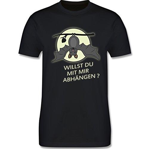 Sprüche - Fledermaus - willst du mit mir abhängen ? - Herren Premium T-Shirt Schwarz