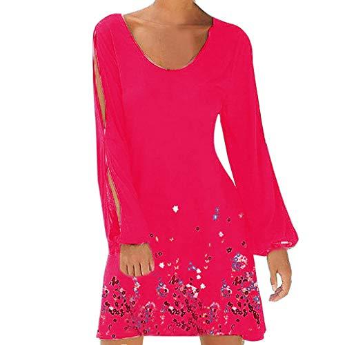 SuperSU Kleider Damen Sommer Modekleider Laternenärmel Geblümt Spleiß hohles Minikleid Kurzer Rock,Partykleid |Locker Kleider |A-Linie Kleider |Strandkleid ()