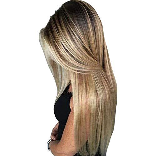 Livecity Hochtemperaturfaser Perücken Für Frauen, Hitzebeständige Frauen Blonde Perücke Kunsthaar Lange Gerade Party Cosplay Party Haarteil