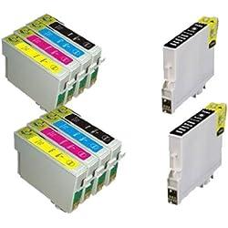 UCI 10x T0615 (T0611, T0612, T0613, T0614) Cartouches d'encre compatible avec Epson Stylus D68 D88 D88+ DX3800 DX3850 DX3850+ DX4200 DX4250 DX4800 DX4850 DX4850+ (4 x Noir, 2 x Cyan, 2 x Magenta, 2 x Jaune)
