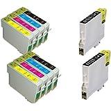 UCI EI T0611 T0614 [ 10 tinta = 2 x Set + 2 x Black = BMCY ] Compatible tinta cartuchos reemplazo For EPSON Stylus D3850, D4200, D68, D68 PE, D88, D88plus, DX3800, DX3850, DX4200, DX4250, DX4800, DX4850, impresora, T0611 - T0614, Black, Cyan, Magenta, Yellow, T0615,