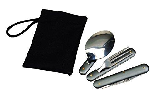 Outdoor Campingbesteck Klapp Besteck aus Edelstahl mit Tasche Löffel Gabel Messer Flaschenöffner und Dosenöffner Klapp-Camping-Besteck-Set (Klapp-messer)