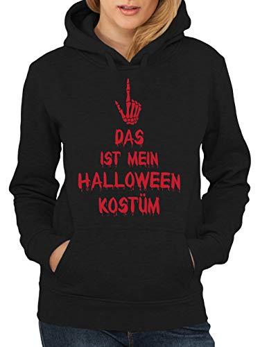 clothinx DAS Ist Mein Halloweenkostüm Skeletthand Damen Kapuzen-Pullover Schwarz Gr. M (Jason's Freundin Kostüm)