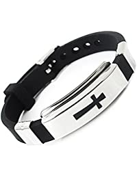 Herren Edelstahl Armband Kreuz schwarz Gummi Armreif