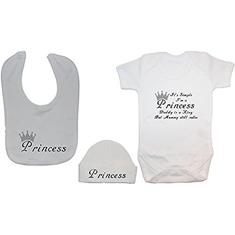 ES sencillo Soy una Princesa Mummy es una reina & Daddy es Lucky Baby Body/Body/camiseta de manga corta con babero de alimentación de Princess & Sombrero/Cap Set 0a 12meses