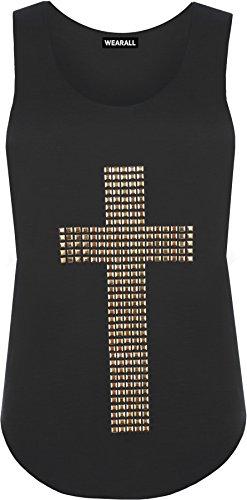 WearAll-Damen-Kreuz-Nagel-Ringerrcken-rmellos-Elastisch-Unterhemd-Top-7-Farben-Gre-36-42