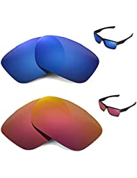 852b95d187e Walleva Polarized Fire Red+Ice Blue Replacement Lenses for Oakley TwoFace  Sunglasses