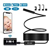Mekuula Endoscopio USB WIFI,Telecamera di Ispezione con Regolabile 8 LED Regolabile Impermeabile Senza Fili Periscopio Fotocamera,2.0 Megapixel HD1200P,Per iPhone,PC,IOS,Android,Tablet,Windows (5M)