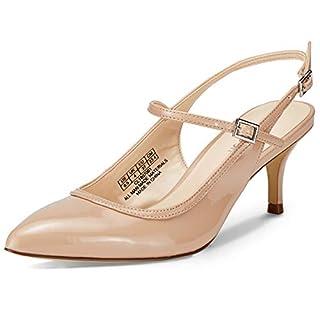Women Slingback Kitten Heels Closed Toe Court Shoes Mid Heels Pointed Toe Sandals