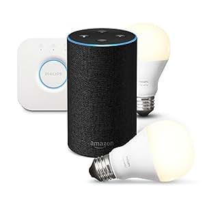 Amazon Echo (2ème génération), Tissu anthracite + Kit de démarrage Philips Hue White E27 (2 ampoules + pont de connexion Hue)