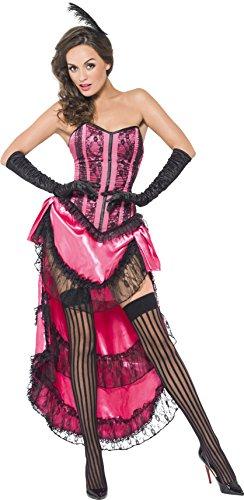 Smiffys, Damen Cancan Diva Kostüm, Schnürkorsett, Rock mit Schleppe und Kopfschmuck, Größe: M, (Burlesque Ideen Outfit)