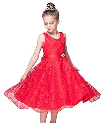 Le meilleur fille Pointe petite robes de mariée robe de mariée Princesse Ceinture Robe du soir la découpe ronde sans manches Robe Soirée Mode - rouge - 5 ans