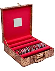 Kuber Industries™ 4 Rods Bangle Organizer Box Hard Board Wooden Coated Jewelry Storage Case (Lock System)