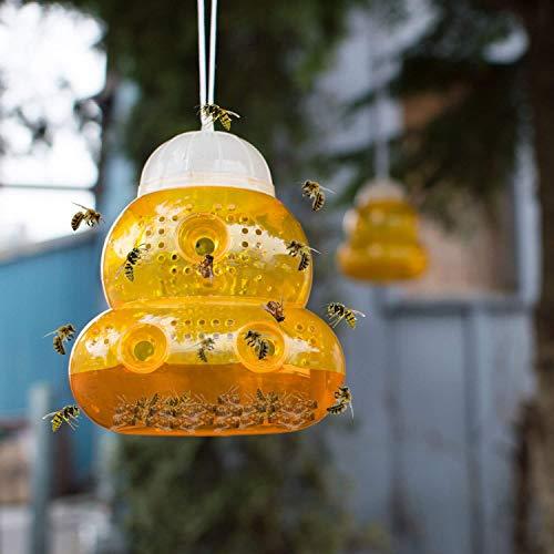 ASPECTEK Pièges à Guêpes pour l'extérieur/Piège à Abeilles à Suspendre (Lot de 2) - Solution Naturelle et Ecologique Anti Guêpe (Orange)