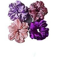 LIBEA Brand Trendy Pack of 4 Satin Scrunchies