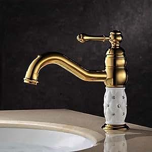 LY Messing antik ti-pvd ein Loch Griff Einzigartige Waschbecken Wasserhahn