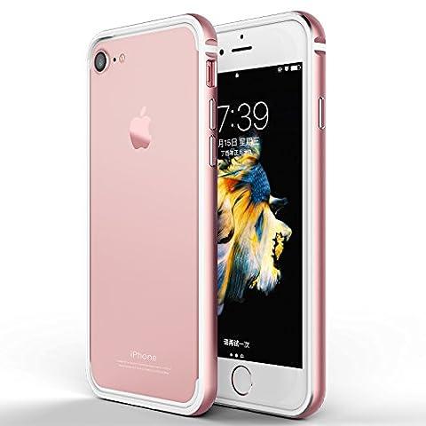 Coque iPhone 7, Roybens Métal Aluminium et Silicone 2 Couches Ultra Fine Anti Choc étui Flexible TPU Pour 2016 Apple iPhone 7, 4.7 Pouces, Or rose