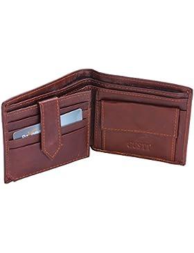 GUSTT Moda de los hombres Bloqueo RFID Real Carteras De Cuero Bifold Wallet Prime Day