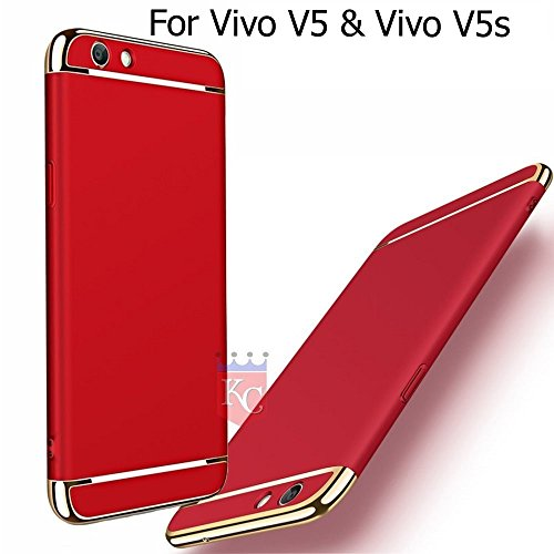 KC Superior Drop Full Body Protection Case Anti Scratch Proof 3 in 1 Back Cover for Vivo V5 & Vivo V5s - Red