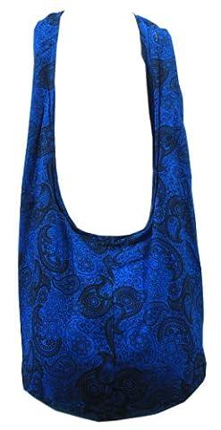 Dark Blue Cotton Printed Standing Coral Crossbody Shoulder Hippie Boho