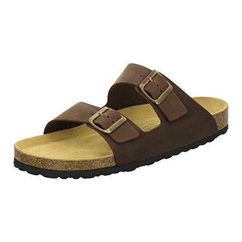 AFS-Schuhe 3100 Bequeme Pantoletten für Herren Leder, Hausschuhe Arbeitsschuhe, Made in Germany Größe 48 EU Braun (Tabak)