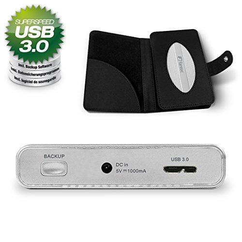 FANTEC DB-228U3 Externes Festplattengehäuse (für den Einbau einer 6,35 cm (2,5 Zoll) SATA Festplatte oder SSD, USB 3.0 Anschluss, inkl. One Touch Backup Funktion, Aluminium Gehäuse) silber