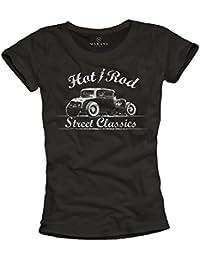 Ropa rockera mujer - Camiseta negra estampada Hot Rod