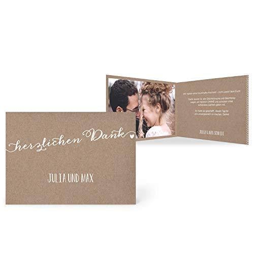 greetinks 30 x Dankeskarten zur Hochzeit 'Zart & Rustikal' in Weiß | Personalisierte Danksagungskarten zum selbst Gestalten | 30 Stück Danksagung Karten