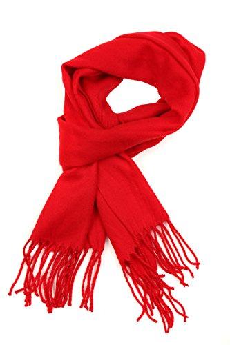 Winter-schal Mit Fransen (Sakkas 1590 -Booker Kaschmir fühlen feste farbige Unisex Winter-Schal mit Fransen - Rot - One Size Regular)
