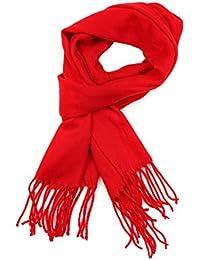 a79f98f24d11d8 Sakkas Booker Kaschmir fühlen feste farbige Unisex Winter-Schal mit Fransen