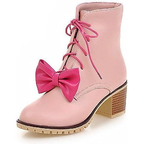 Botas para mujer Botas de moda botas de combate/cuero sintético al aire libre/oficina y carrera/casual Chunky talón othersblack, pink-us6.5–7/eu37/uk4.5–5/cn37,