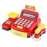 B Blesiya Plastik Registrierkasse Spielzeug mit Kartenlesegerät und Scanner, beinhaltet Musik, Geschichte, Licht, Telefon klingeln und mehr - Rot