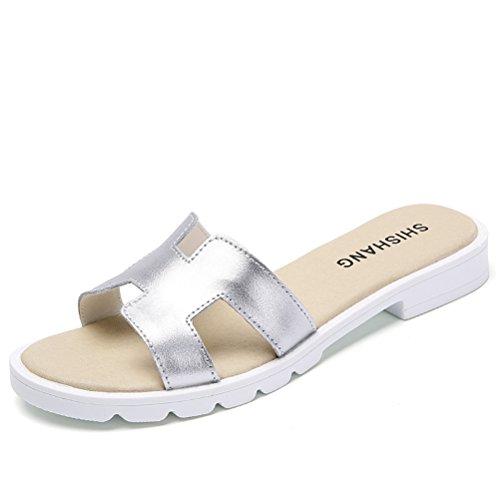 Moderne Sommer Damen überall Passend Slip On Anti Rutsch Zehentrenner Draußen Weiche Sohle Gummi Anti Rutsch Strandschuhe Sandalen Silber