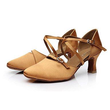 Scarpe da ballo-Personalizzabile-Da donna-Balli latino-americani / Moderno / Salsa-Tacco su misura-Raso-Nero / Marrone Brown