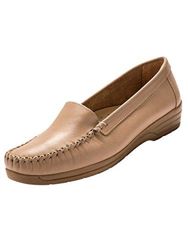 Pediconfort - Mocassins à Plateau Lisse Cousu Main, Largeur Confort - Femme - Taille : 38 - Couleur : Beige