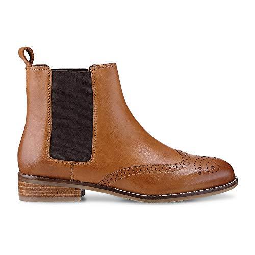 Cox Damen Damen Chelsea-Boots aus Leder, Stiefeletten in Braun mit stylischer Lyra-Lochung Braun Glattleder 41