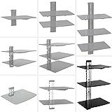 TecTake Soporte de pared para reproductores de DVD y receptores - varios modelos - (3 estantería Negro/Plata | 400349)