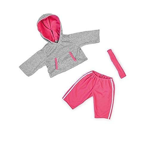 Bayer Design - 84634 - Vêtement Pour Poupée - Habit Poupon - Ensemble Gilet A Capuche Jogging Sport + Pantalon Gris/rose - 40-46 Cm
