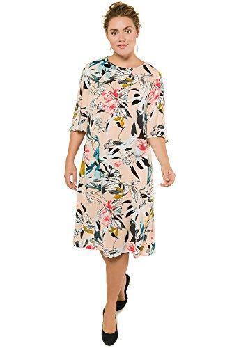 oße Größen bis 62 | Kleid aus Krepp | Glockenärmel | Langer Halbarm | Weiter Rundhalsausschnitt | A-Line | helles pfirsich 54 716294 68-54 (Klassisches Kleid Bis)