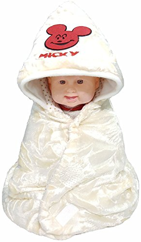 BRANDONN NEWBORN Ultra Soft FURRY Hooded Sleeping Bag Cum Safety Bag Cum Baby Bedding Cum Baby Blanket For Babies(CREAM)  available at amazon for Rs.289