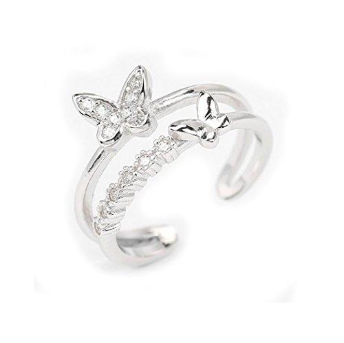 se-femmes-sterling-silver-diamond-papillon-bagues-open-reglable-hoop-wrap-anneaux