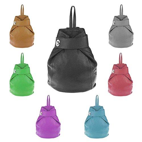 OBC Made in Italy Damen echt Leder Rucksack Daypack Lederrucksack Tasche Schultertasche Ledertasche Handgepäck Nappaleder Schwarz Schwarz