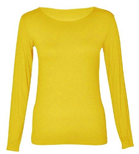 Minion Frauen Kostüm - Funky Boutique Damen lange Ärmel Strecken body mit Rundausschnitt Größe EU 36-50 (12-14 ML, Gelb)
