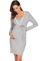 0af89955ef ADOME Damen Kurz Stillnachthemd Langarm Nachtkleid für Schwangere Umstands  Nachthemd mit Stillfunktion